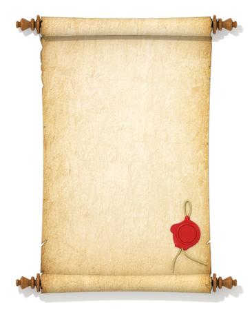 Rollo de papel amarillento viejo con un sello de cera sobre un fondo blanco. Foto de archivo - 46729390