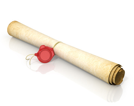 seal wax: Scroll of old yellowed paper with a wax seal on a white background.