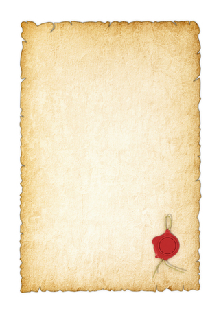 papier lettre: Vieux papier jauni avec un cachet de cire sur un fond blanc