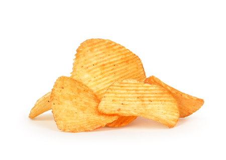 ribbed: a bunch of ribbed potato chips isolated on white background