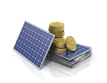 power of savings: Stack of money on the stack of solar panels.