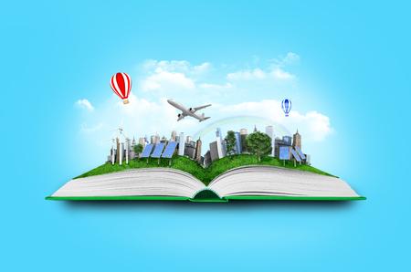 libro abierto con la naturaleza El mundo verde que sale de sus páginas Foto de archivo