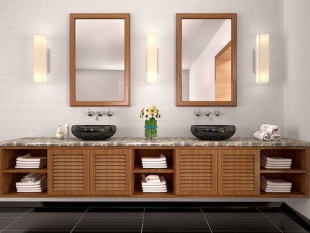 bathroom tile: 3d illustration of double sink in the bathroom Mediterranean-sty