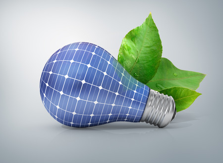 warming: Concept of solar energy. Green energy. The bulb with texture solar battery.