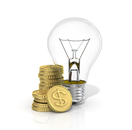 energy costs: Concept of energy costs. The lightbulb with stack of money. Stock Photo