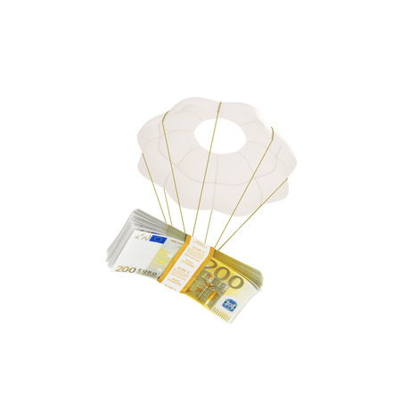 compensation: money flying on a parachute Stock Photo