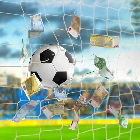 soccer: soccer ball in the net with euro banknotes