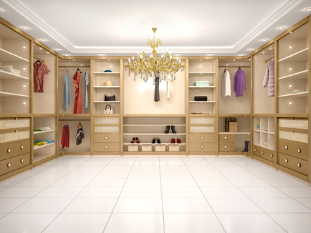 walk in closet: 3d illustration of luxury wardrobe in modern style