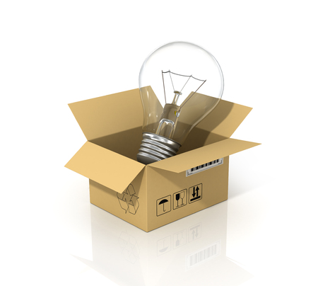 creative ideas: Concept of saving energy. The lightbulb in the cardboard box. Enviroment protection.