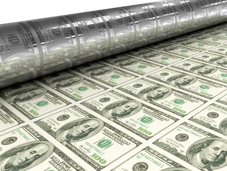 depreciation: Dollar bills mashine