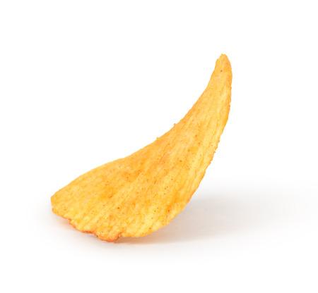 titbits: Single potato chip on white background close-up Stock Photo