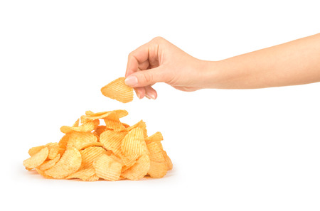 gease: Pile of potato chips isolated on white