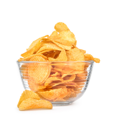 potato: Potato chips in a bowl isolated on white