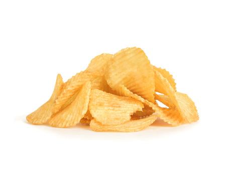 papas: papas fritas en fondo blanco