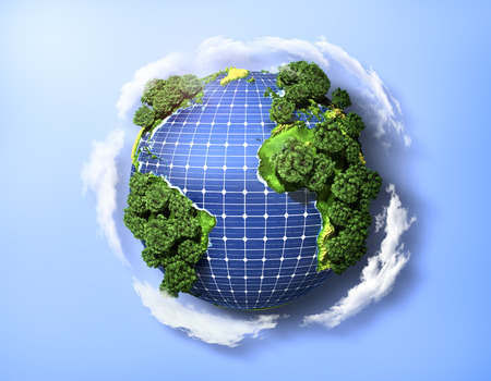 green power: Concept of green solar energy. Green planet earth with trees and solar panels in the ocean. Stock Photo