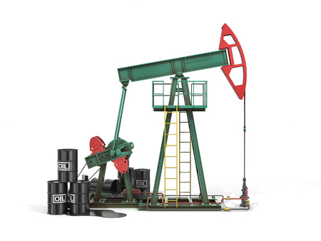 gold cans: Oil pump with oil cans 3d. Black gold.