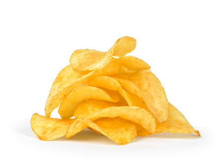 titbits: a pile of potato chips isolated on white background
