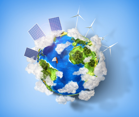 Concept of green energy and protect enviroment nature. Green planet earth with batteries of solar energy and wind power installed on it.
