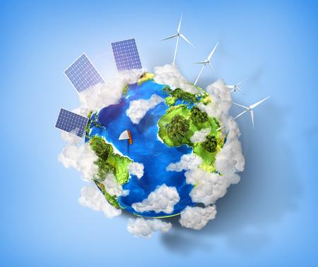 pila: Concepto de energ�a verde y proteger la naturaleza medio ambiente. Planeta tierra verde con bater�as de energ�a solar y la energ�a e�lica instalados en �l. Foto de archivo