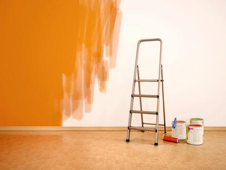 3D-Darstellung der Prozess der Neuanstrich der Wände in orange col Lizenzfreie Bilder
