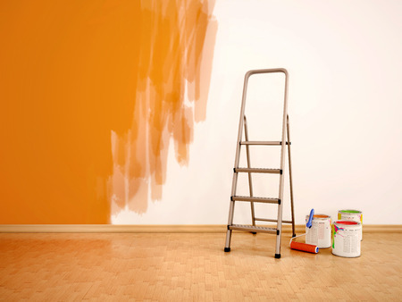 paint cans: 3d illustration of Process of repainting the walls in orange col