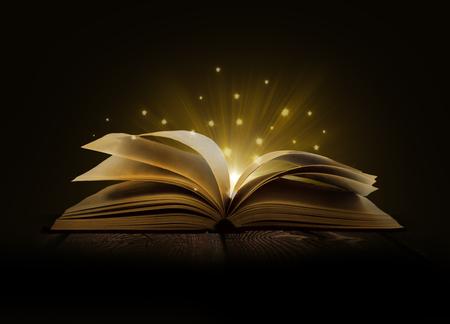 Obrázek otevřené magické knihy s magickými světly