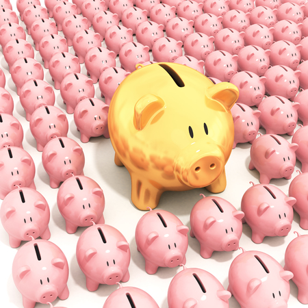 Bigger golden piggy bank standing out from others