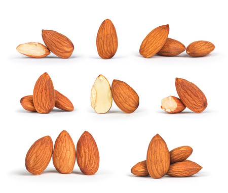 a collection of almonds isolated on white background