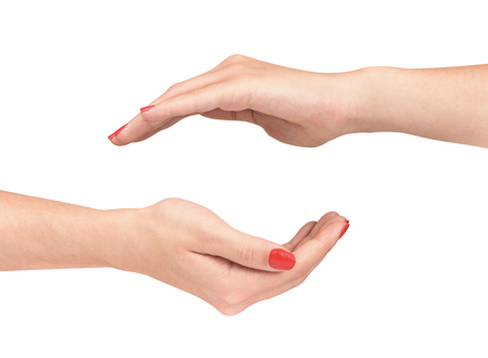 symbol women: two female hands protecting a gesture on an isolated white background Foto de archivo