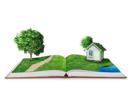 book concept: Open book with green nature world Stock Photo