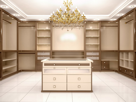 walk in closet: 3d illustration of Big empty walk in wardrobe in luxurious house