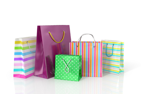 delinquent: Colorful paper bags for shopping on a white background. Stock Photo