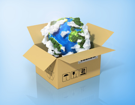 global logistics: Global logistics, shipping and worldwide delivery business concept. Green planet Earth in the cardboard box.