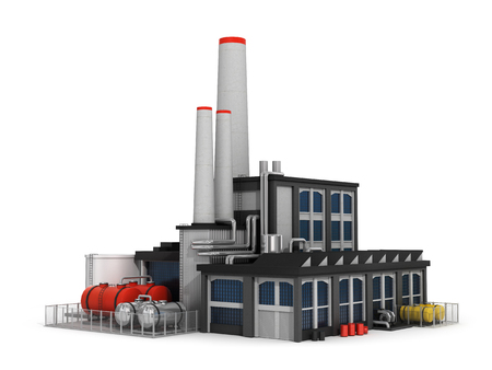 Factory isolated on white background.