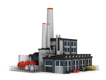 Fabriek op een witte achtergrond. Stockfoto
