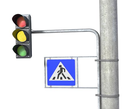 pedestrian sign: Traffic light and pedestrian sign