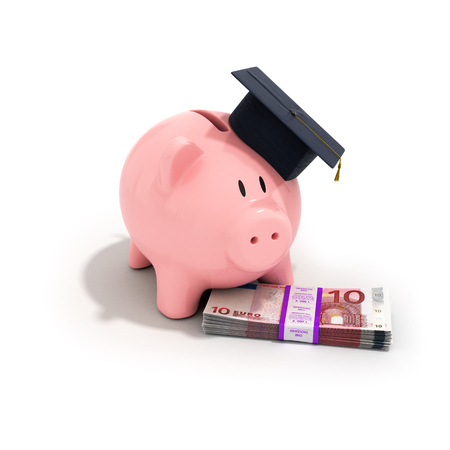 increased: A piggy bank wearing a graduation cap with stack of euro bills on a white background, increased education costs
