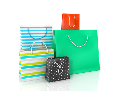 paper bag: Five colorful paper bags for shopping on a white background. Stock Photo