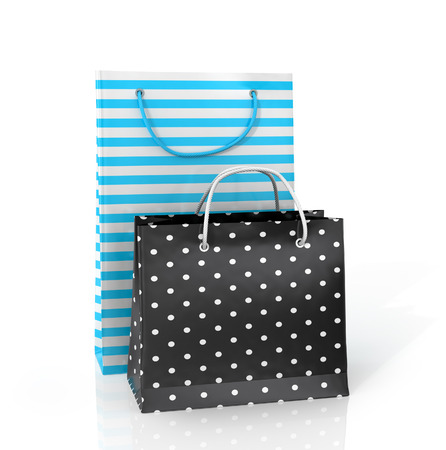 delinquent: Two colorful paper bags for shopping on a white background. Stock Photo