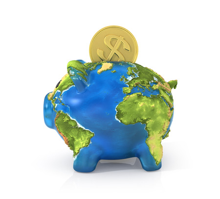 bank economic crisis: Concept of saving enviroment nature. Moneybox in the form of pig in earth texture with falling coin of money to the her.