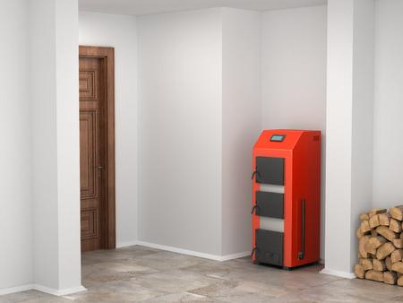 Kocioł na paliwo stałe w piwnicy