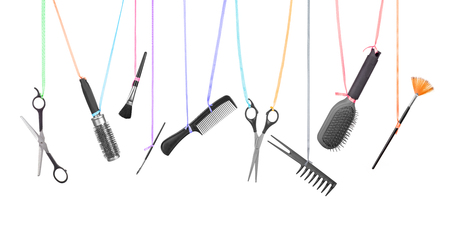 coiffeur: Professional hairdresser tools isolated on white Banque d'images