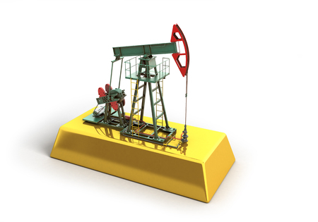 economic growth: Oil pump-jack stands on a gold