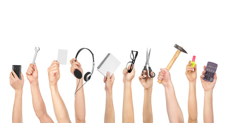 Handen die diverse objecten geïsoleerd op een witte achtergrond Stockfoto - 47797988