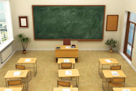 board room: Empty school classroom with blackboard for training. 3D rendering. Stock Photo