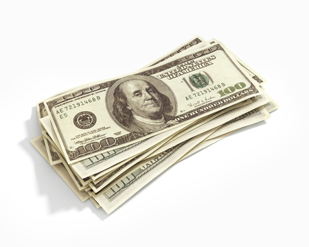 dollaro: Pila di centinaia di dollari isolato su bianco Archivio Fotografico