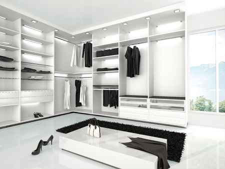 carpet clean: 3d illustration of luxurious white wardrobe in a modern style Stock Photo