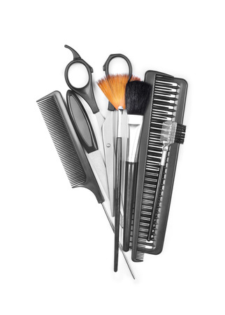 salon background: Professional hairdresser and make up tools isolated on white Stock Photo