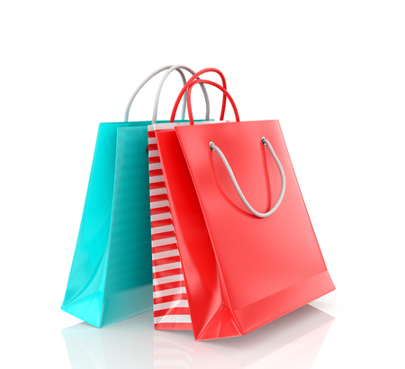 bolsa de pan: Tres bolsa de papel de color sobre un fondo blanco.