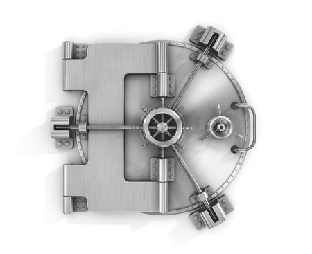 The metallic bank vault door on a white background isolated on white 스톡 콘텐츠